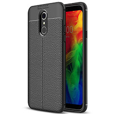 Soft Silicone Gel Leather Snap On Case Cover for LG Q7 Black