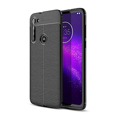 Soft Silicone Gel Leather Snap On Case Cover for Motorola Moto G8 Power Black