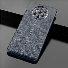 Soft Silicone Gel Leather Snap On Case Cover for Nokia 9 PureView Blue