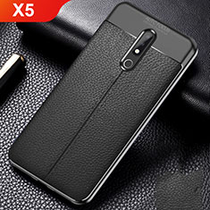 Soft Silicone Gel Leather Snap On Case Cover for Nokia X5 Black