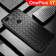 Soft Silicone Gel Leather Snap On Case Cover for OnePlus 5T A5010 Black