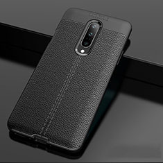 Soft Silicone Gel Leather Snap On Case Cover for OnePlus 7 Pro Black