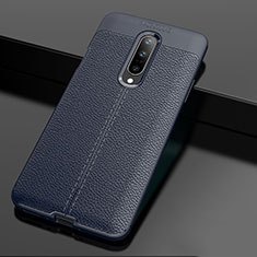 Soft Silicone Gel Leather Snap On Case Cover for OnePlus 7 Pro Blue