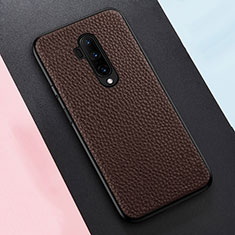 Soft Silicone Gel Leather Snap On Case Cover for OnePlus 7T Pro Brown