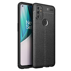 Soft Silicone Gel Leather Snap On Case Cover for OnePlus Nord N100 Black