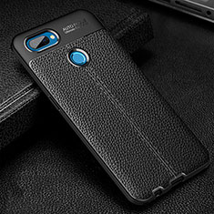 Soft Silicone Gel Leather Snap On Case Cover for Oppo A12 Black