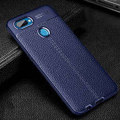 Soft Silicone Gel Leather Snap On Case Cover for Oppo A12 Blue