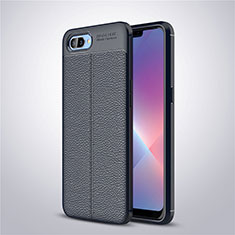 Soft Silicone Gel Leather Snap On Case Cover for Oppo A12e Blue