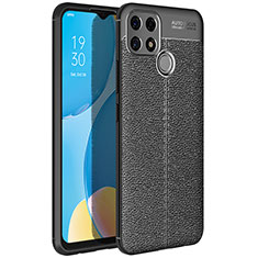 Soft Silicone Gel Leather Snap On Case Cover for Oppo A15 Black