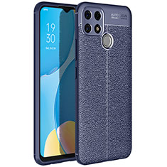 Soft Silicone Gel Leather Snap On Case Cover for Oppo A15 Blue