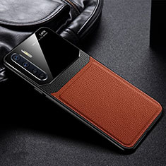 Soft Silicone Gel Leather Snap On Case Cover for Oppo A91 Brown