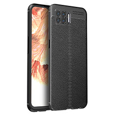 Soft Silicone Gel Leather Snap On Case Cover for Oppo F17 Black