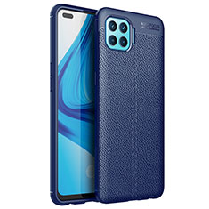 Soft Silicone Gel Leather Snap On Case Cover for Oppo F17 Pro Blue