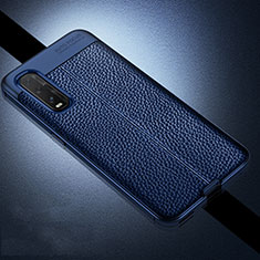 Soft Silicone Gel Leather Snap On Case Cover for Oppo Find X2 Blue