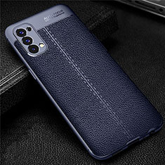 Soft Silicone Gel Leather Snap On Case Cover for Oppo Reno4 4G Blue