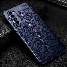 Soft Silicone Gel Leather Snap On Case Cover for Oppo Reno4 Pro 4G Blue
