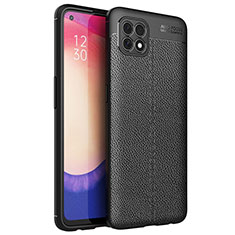 Soft Silicone Gel Leather Snap On Case Cover for Oppo Reno4 SE 5G Black