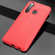 Soft Silicone Gel Leather Snap On Case Cover for Realme 5i Red