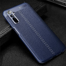 Soft Silicone Gel Leather Snap On Case Cover for Realme 6 Blue