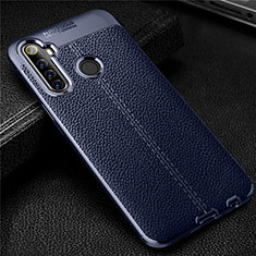 Soft Silicone Gel Leather Snap On Case Cover for Realme 6i Blue