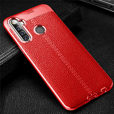 Soft Silicone Gel Leather Snap On Case Cover for Realme 6i Red