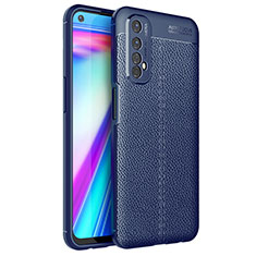 Soft Silicone Gel Leather Snap On Case Cover for Realme 7 Blue
