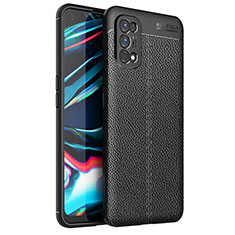 Soft Silicone Gel Leather Snap On Case Cover for Realme 7 Pro Black