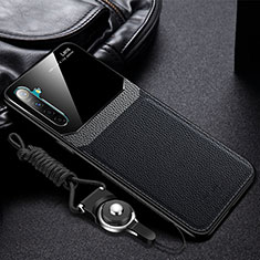 Soft Silicone Gel Leather Snap On Case Cover for Realme X2 Black