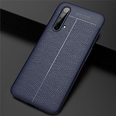 Soft Silicone Gel Leather Snap On Case Cover for Realme X3 Blue