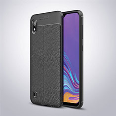 Soft Silicone Gel Leather Snap On Case Cover for Samsung Galaxy A10 Black