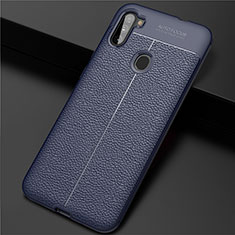 Soft Silicone Gel Leather Snap On Case Cover for Samsung Galaxy A11 Blue