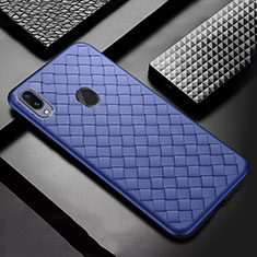Soft Silicone Gel Leather Snap On Case Cover for Samsung Galaxy A30 Blue