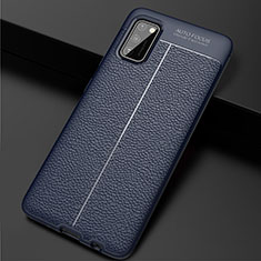 Soft Silicone Gel Leather Snap On Case Cover for Samsung Galaxy A41 Blue