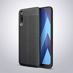 Soft Silicone Gel Leather Snap On Case Cover for Samsung Galaxy A50 Black