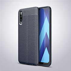 Soft Silicone Gel Leather Snap On Case Cover for Samsung Galaxy A50 Blue