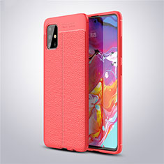 Soft Silicone Gel Leather Snap On Case Cover for Samsung Galaxy A51 5G Red