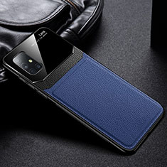 Soft Silicone Gel Leather Snap On Case Cover for Samsung Galaxy A71 5G Blue
