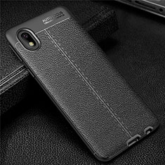 Soft Silicone Gel Leather Snap On Case Cover for Samsung Galaxy M01 Core Black