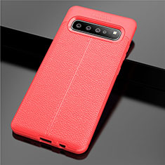 Soft Silicone Gel Leather Snap On Case Cover for Samsung Galaxy S10 5G SM-G977B Red