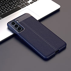 Soft Silicone Gel Leather Snap On Case Cover for Samsung Galaxy S21 Plus 5G Navy Blue