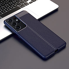 Soft Silicone Gel Leather Snap On Case Cover for Samsung Galaxy S21 Ultra 5G Blue