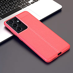 Soft Silicone Gel Leather Snap On Case Cover for Samsung Galaxy S21 Ultra 5G Red