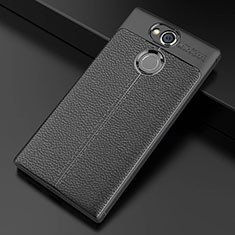 Soft Silicone Gel Leather Snap On Case Cover for Sony Xperia XA2 Plus Black