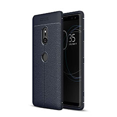 Soft Silicone Gel Leather Snap On Case Cover for Sony Xperia XZ3 Blue