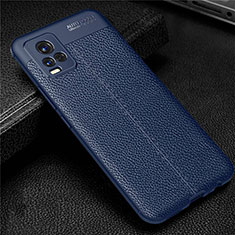 Soft Silicone Gel Leather Snap On Case Cover for Vivo V20 Blue