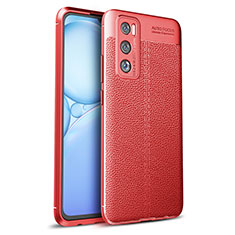 Soft Silicone Gel Leather Snap On Case Cover for Vivo V20 SE Red