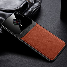 Soft Silicone Gel Leather Snap On Case Cover for Vivo X50 Lite Brown