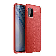 Soft Silicone Gel Leather Snap On Case Cover for Xiaomi Mi 10 Lite Red