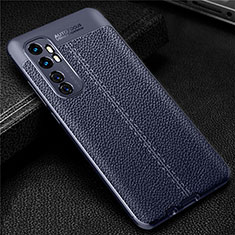 Soft Silicone Gel Leather Snap On Case Cover for Xiaomi Mi Note 10 Lite Blue
