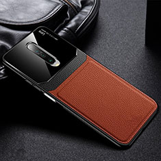 Soft Silicone Gel Leather Snap On Case Cover for Xiaomi Poco X2 Brown